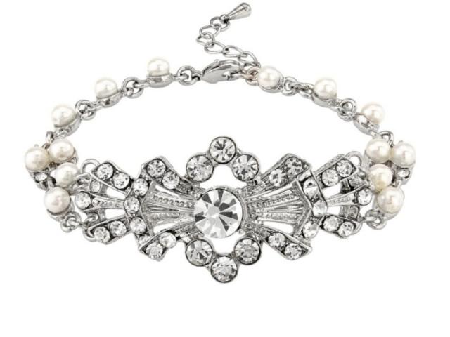 Athena Bridal Jewellery Bracelets 1655 Gatsby Glam Bracelet Silver
