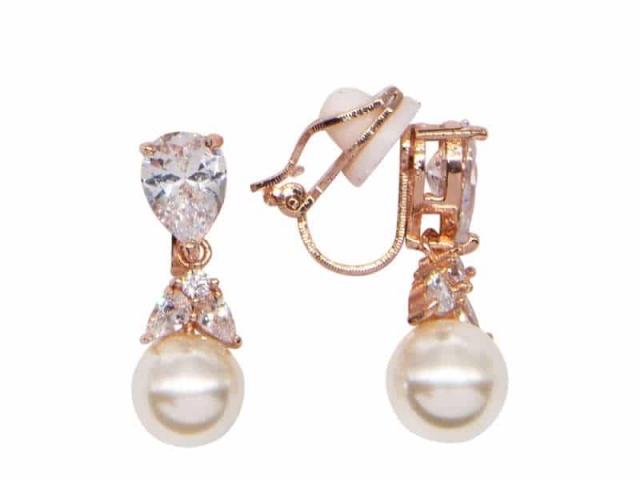 Athena Bridal Jewellery Earrings 2019 Graceful Pearl Earrings Rose Gold
