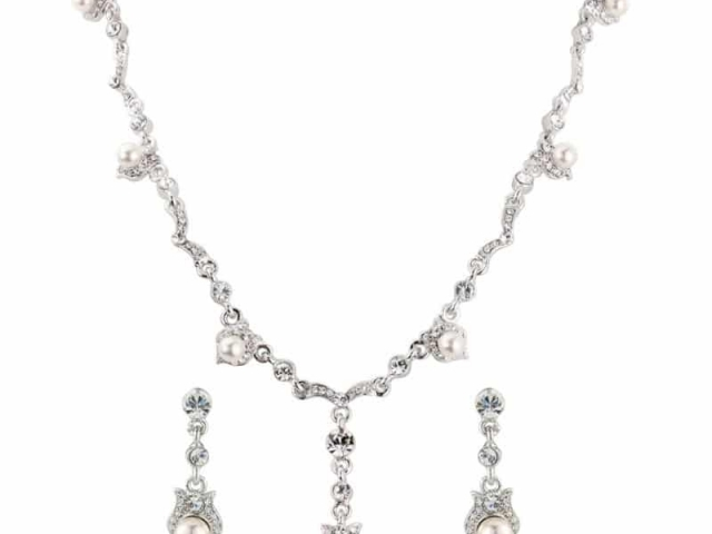 Athena Bridal Jewellery 2345 Vintage pearl and crystal Necklace set silver
