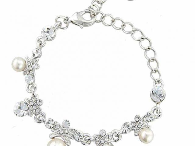 Athena Bridal Jewellery Bracelets 2833 Crystal and pearl silver bracelet