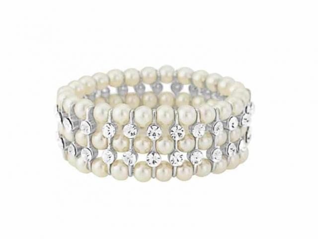 Athena Bridal Jewellery Bracelets 2884 Pearl and crystal band bracelet