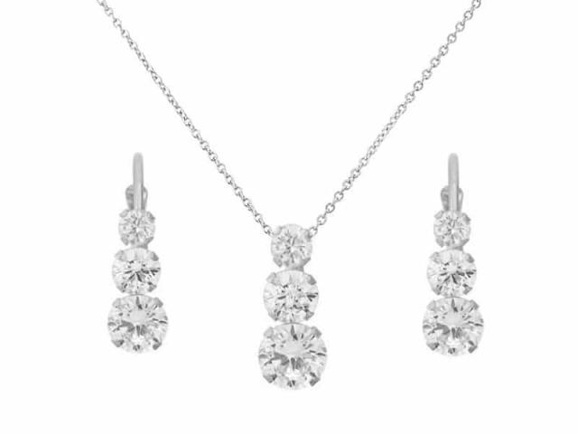 Athena Bridal Jewellery 4075 Graduating crystal necklace set silver
