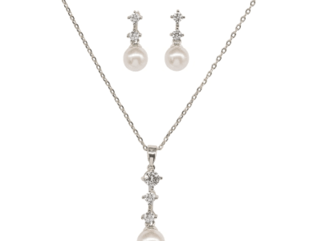 Athena Bridal Jewellery 7029 Dainty Pearl Necklace Set Silver
