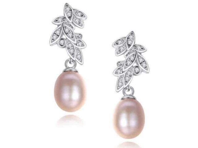 Athena Bridal Jewellery Earrings 2019 Graceful Pink Pearl 925 sterling silver earrings