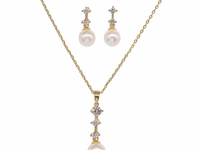 Athena Bridal Jewellery 7310 Dainty Pearl Necklace Set Gold