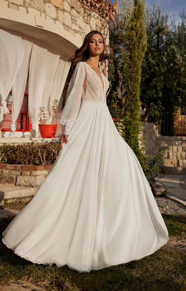 Herve Paris Bridal Ariane with Sleeves Wedding Dress