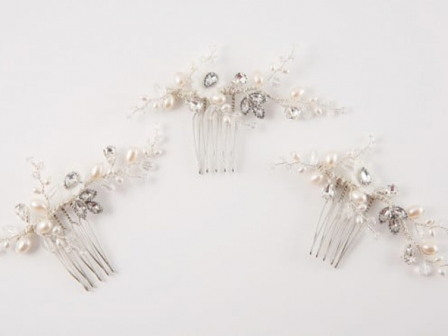 Richard Designs Bridal Jewellery CP190 Pearl and crystal mini combs