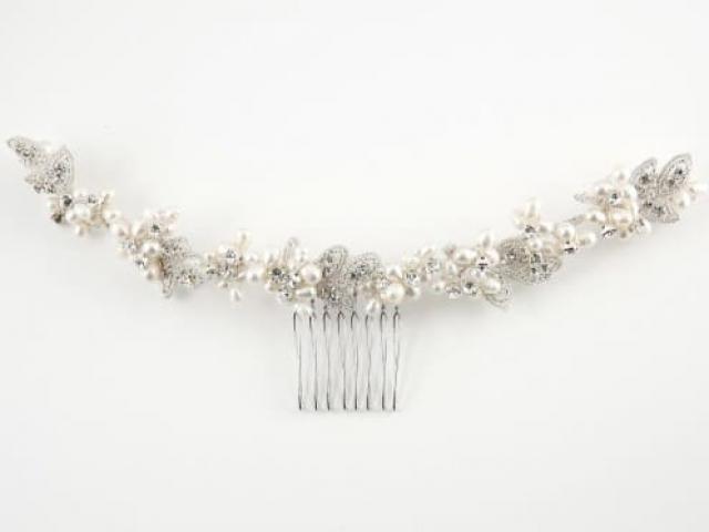Richard Designs Bridal Jewellery HV002 Genuine Pearl clustered hair vine