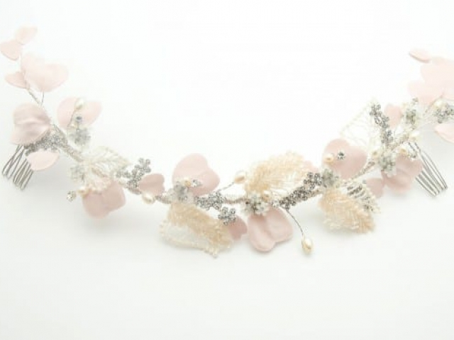 Richard Designs Bridal Jewellery HV039 Blush Beaded Hair Vine