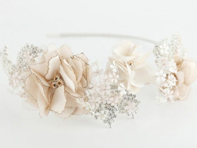 Richard Designs TR1871A Floral and crystal side tiara