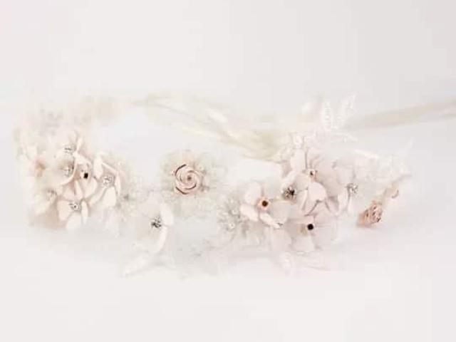Richard Designs Belt TR2011RGS rose gold floral bridal belt