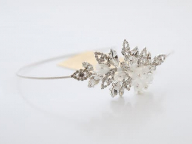 Richard Designs TR2166A light floral and crystal side tiara