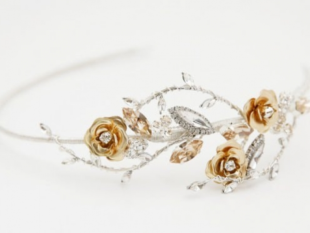 Richard Designs TR2201A Side Tiara with golden roses