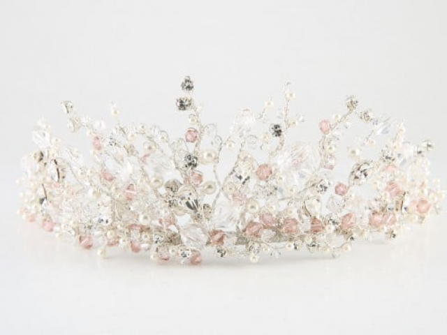 Richard Designs TR2549A Statement crystal and pearl tiara